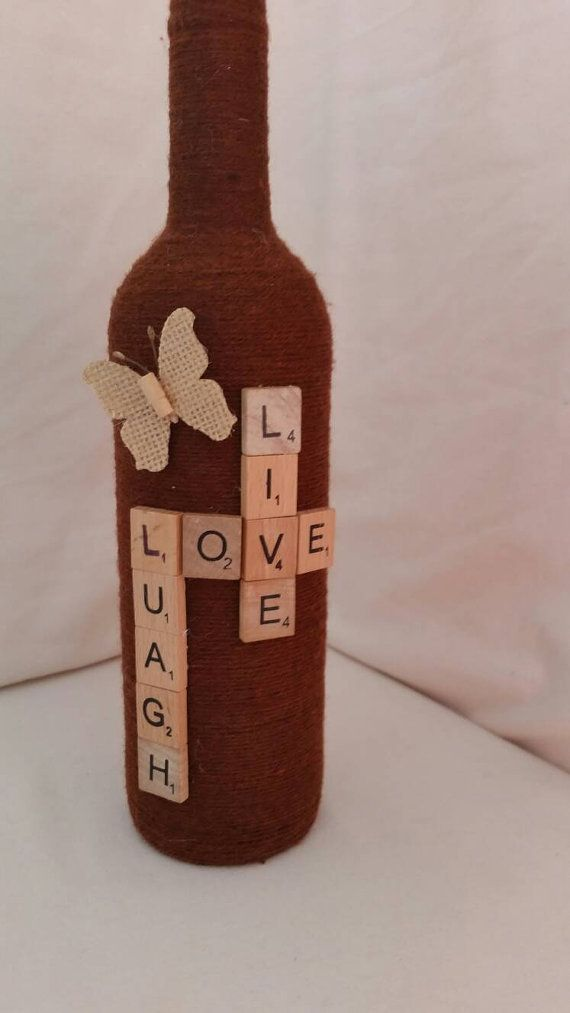 Custom twine wrapped wine bottle by CandlesbyGlasslight on Etsy