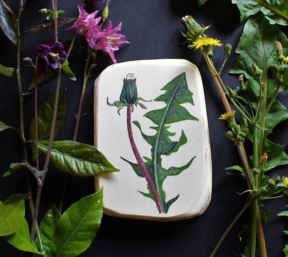 Decorazione Botanica per parete Dente di Leone dipinto a mano