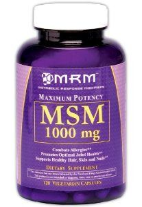 MRM MSM Vegetarian Capsules, 1000 mg, 120-Count Bottles by MRM. Save 26 Off!. $10.59. Supports Healthy Hair, Skin & Nails. Supports Immune Health. Combats Allergic Response. Promotes Optimal Joint Health. Methyl-Sulfonyl-Methane. Clinical grade. Methyl-Sulfonyl-Methane (MSM) is an organic source of sulfur that has long been associated as the metabolite of DMSO. It is utilized in connective tissue formation, the production of the antioxidant gluthione and in the detoxification process. Sulfur…