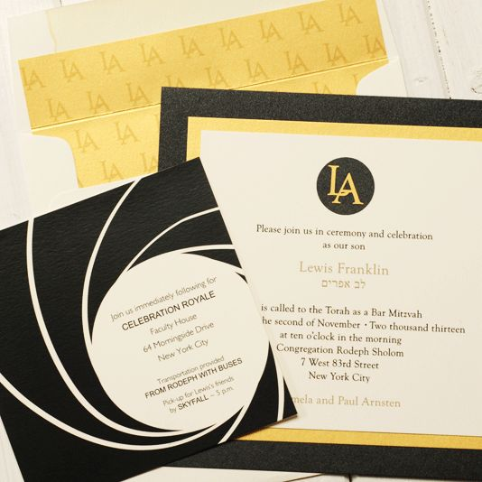 20 best mitzvah invitations images on pinterest bat mitzvah sweet james bond themed barmitzvah invitation uses custom die cuts and artwork from stopboris Image collections