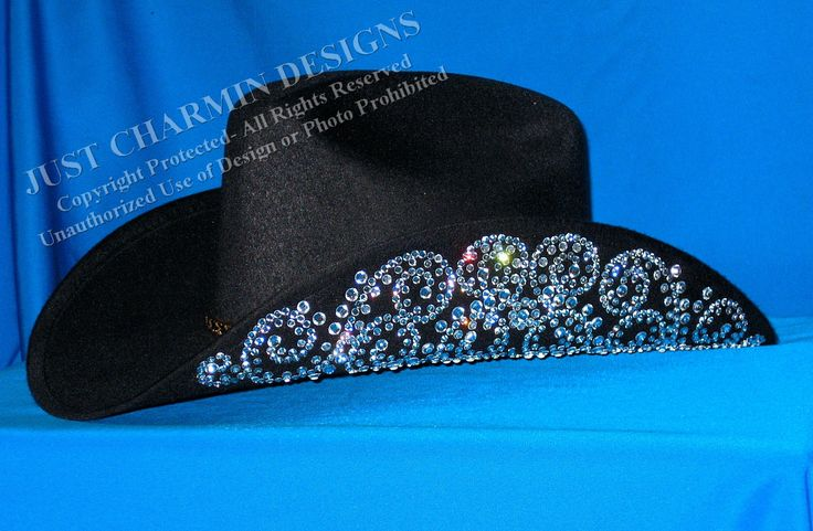 JCD- Just Charmin Designs- Crystal Bling Black Wool Western Cowgirl Cowboy Hat Horse Show Shirt Rodeo Showmanship Barrel Racing