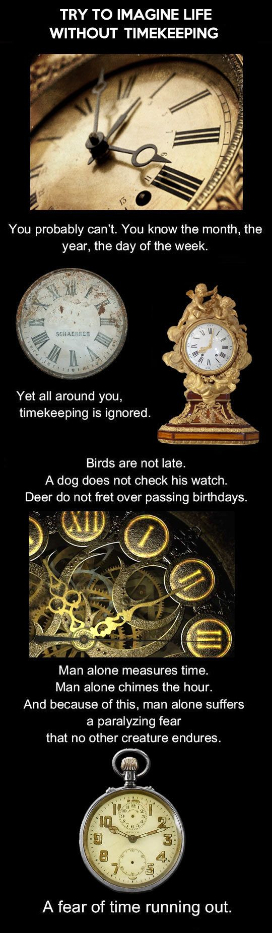 What would life be like for humans without the concept of time? This infographic tries to imagine the possibilities.