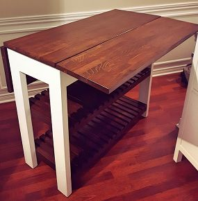 Check out these easy to follow plans for this DIY Drop Leaf Kitchen Island / Cart. This inexpensive project is a perfect space saving idea for your kitchen.
