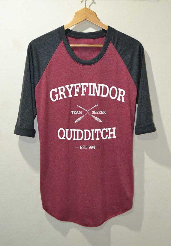 Gryffindor Quidditch Shirt Harry Potter Shirts Raglan 3/4 Sleeve Size S M L