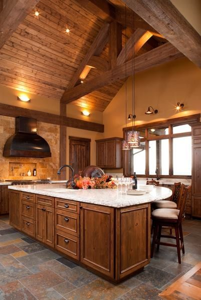 723 best images about luxury kitchens on pinterest for Log cabin kitchen islands