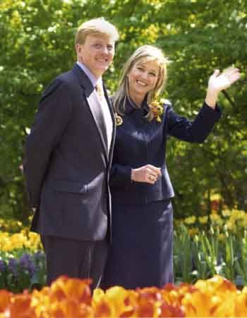 First official appearance after engagement for Prince Willem-Alexander and Maxima