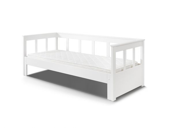 Funktionsbett Mit Auszug Erweiterbarer Liegeflache 90 180 X 200 Kiefer Massiv Weiss Bett Einzelbett Funktionsbett