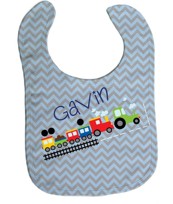 29 best personalized baby gifts images on pinterest personalized choo choo train blue chevron baby bib baby gifts baby shower gift negle Gallery