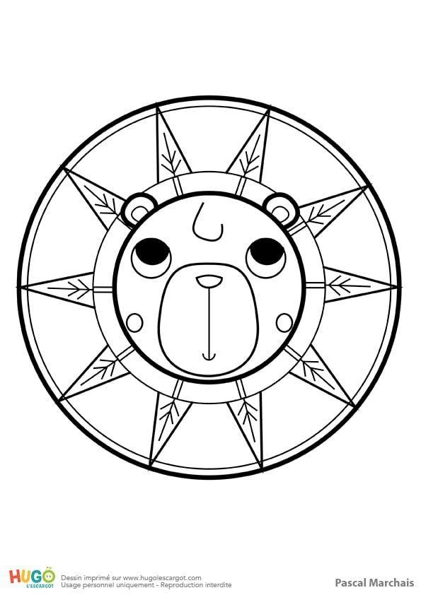 Coloriage et illustration d'un mandala ours, pour les petits. L'ours passe tout l'hiver endormi ...