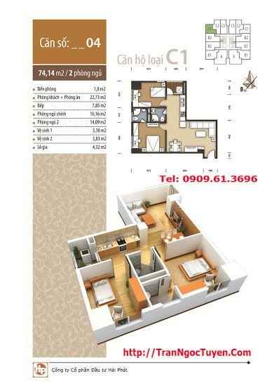 Thiết kế căn hộ C1 74.14m2 chung cư The Pride