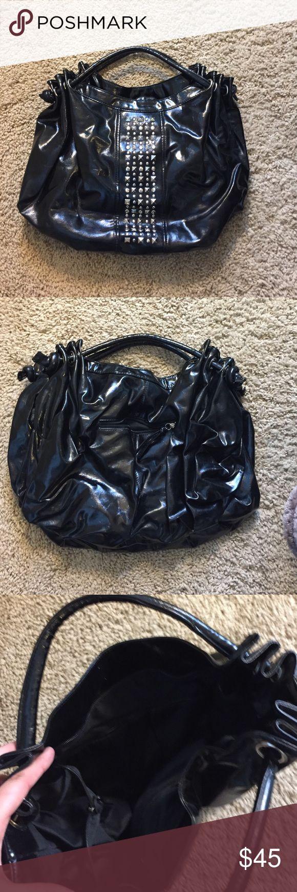 Black Patten Leather Studded Purse Black Patten Leather Studded Purse Bags Shoulder Bags
