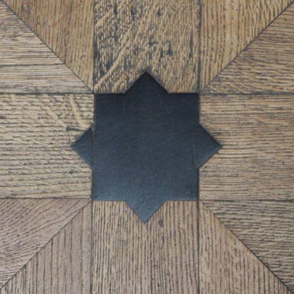 Star mosaic, floor Louvre, Paris, France, 2014