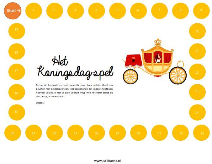 www.juf-lisanne.nl Spel voor Koningsdag / Koninginnedag, te gebruiken in de onderbouw.