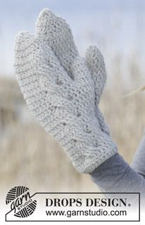 "Snowdrift Gloves - Crochet DROPS mittens with cable in ""Nepal"". - Free pattern by DROPS Design"