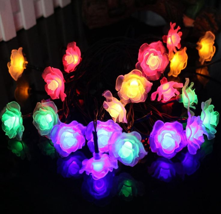 Solar Powered Waterproof 15 ft String Lights with 20 Flower Shaped LEDs