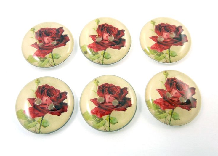 "6 Vintage Rose Sewing Buttons. Sewing Buttons. 3/4"" or 20 mm.  Red Flower Buttons. Handmade By Me.  Washer and Dryer Safe. by buttonsbyrobin on Etsy"