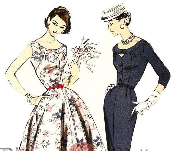 Заранее 8047 винтажный 1950-х платье с замочную скважину вырез и Санберст Вытачек выкройки СЗ 20