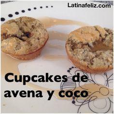 Cupcakes de avena y coco perfectos y sencillos para preparar en 20 minutos sin utilizar azúcar ni harina. Receta en la pagina web