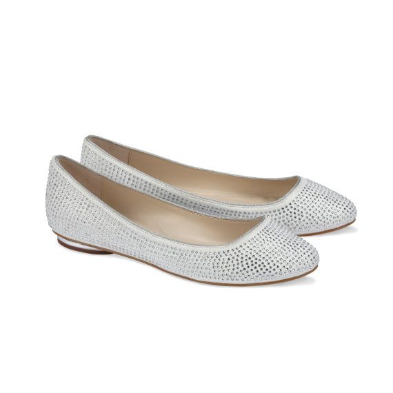 Flat Wedding Shoes  Ballet Style Shoe Crystal Look Wedding