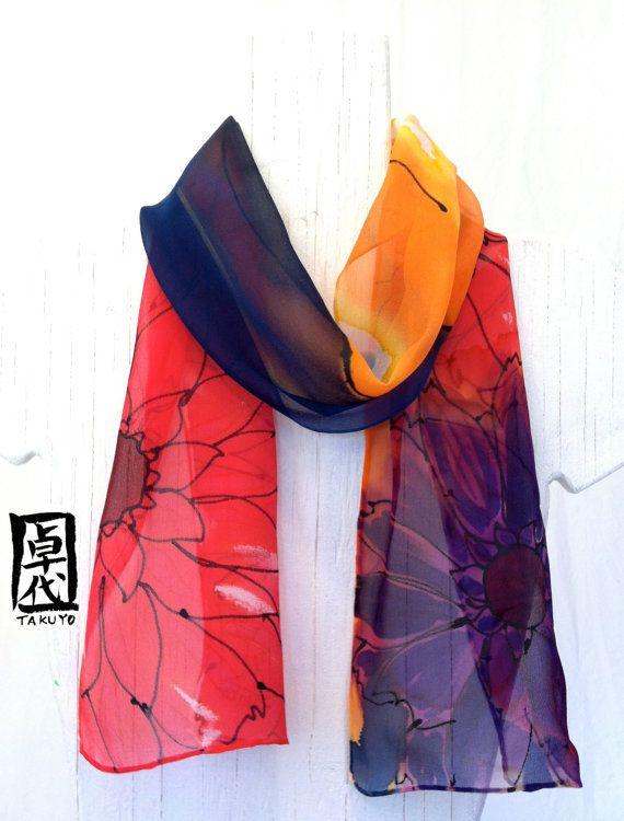 Hand Painted Silk Scarf, Multi Colored Scarf. Silk Chiffon Scarf, Flower Nymph. Silk Dye. Silk Scarves Takuyo. 7x50 in. Made to order. on Etsy, $49.00