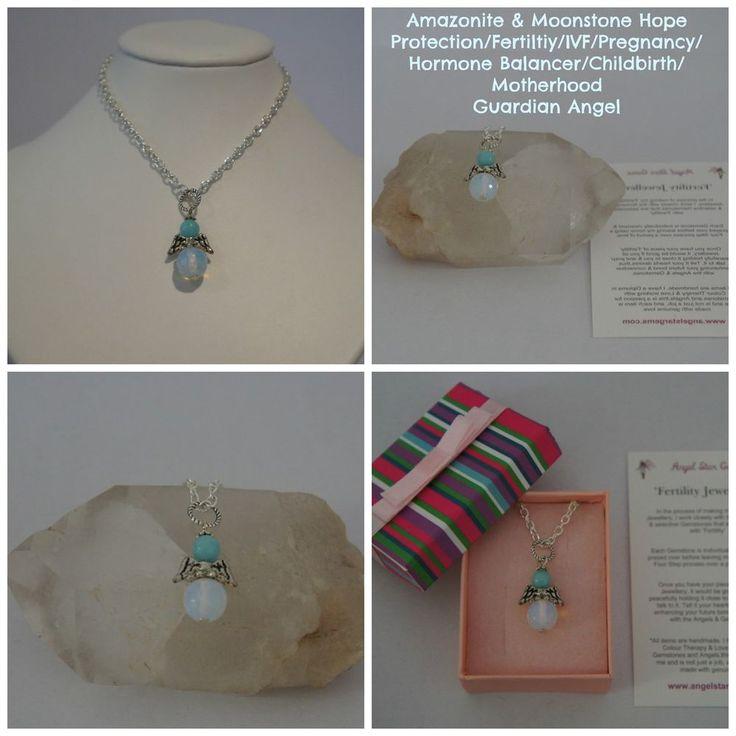 1 Amazonite Moonstone Hope Protection Fertility IVF Guardian Angel Pendant