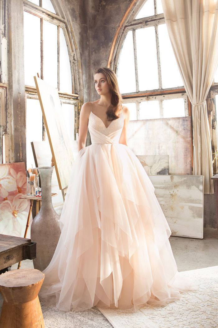 b8ec542ca4d7 This blush gown from Tara Keely featuring an airy tulle skirt is utterly  romantic! » Praise Wedding Community #weddinggowns