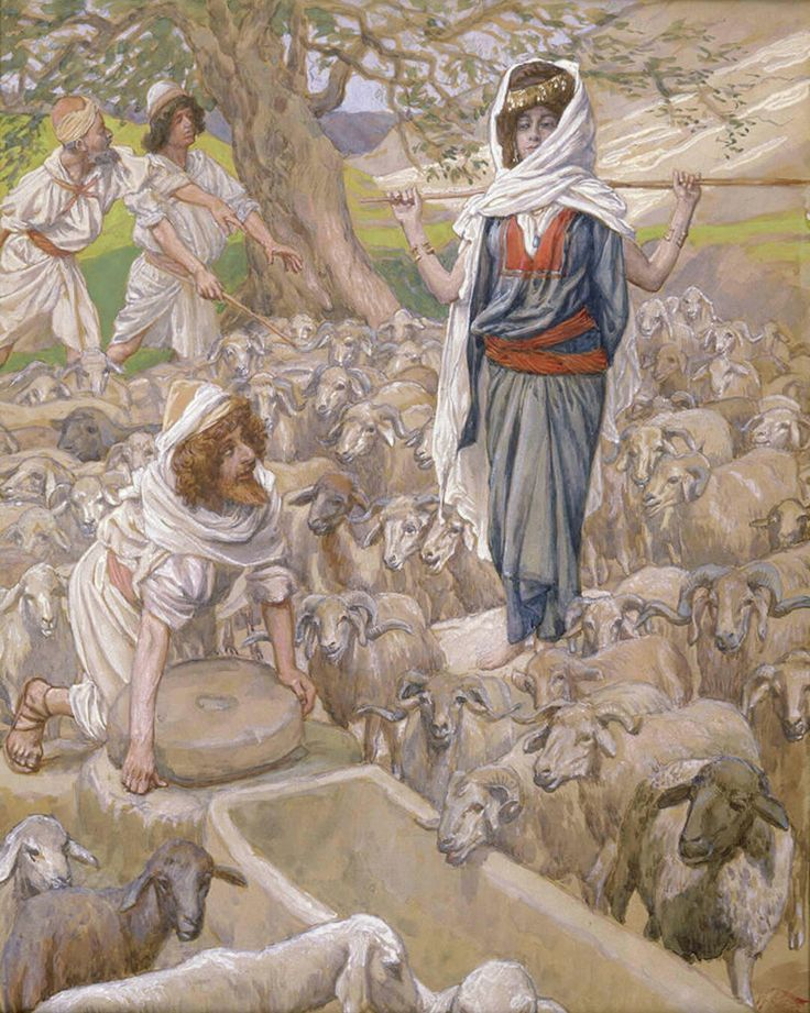 Phillip Medhurst presents 054/788 James Tissot Bible c 1899 Jacob and Rachel at the Well Genesis 29:9 Jewish Museum New York. By (James) Jacques-Joseph Tissot, French, 1836-1902. Gouache on board.