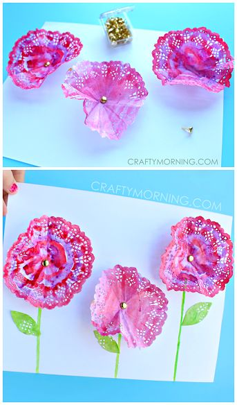 3D Doily Flowers Spring Craft For Kids