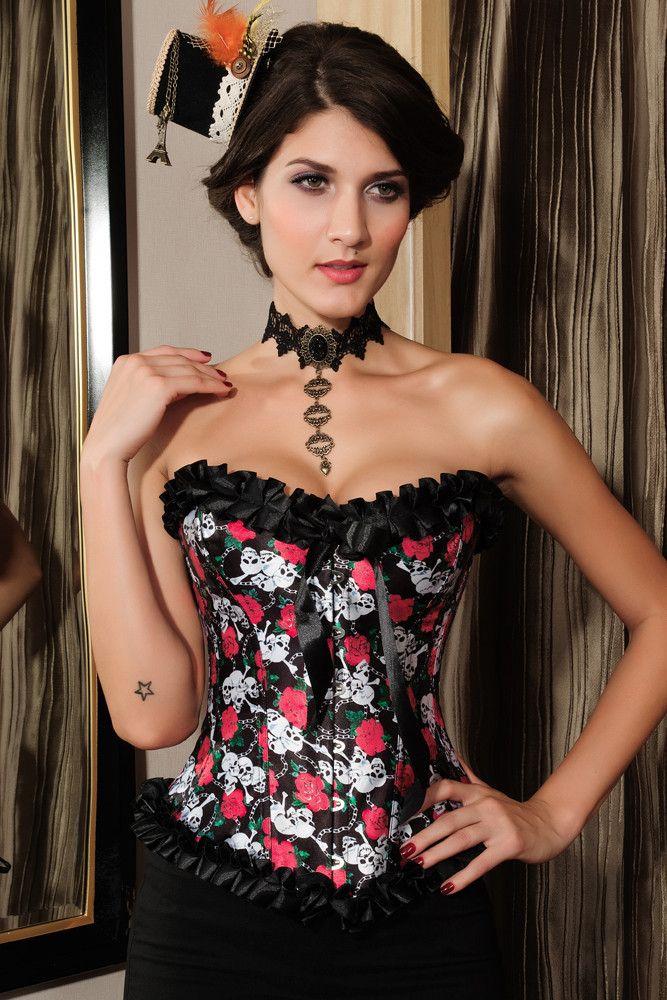 Prix: €18.27 Corsets Rose Et Skull Impression Corset Modebuy.com @Modebuy #Modebuy #CommeMontre #me #sexy #Rose