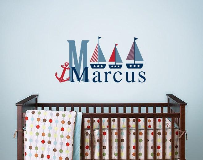 Children's Nursery Wall Decal - Nautical - Personalized Monogram - Vinyl Wall Decal Sticker - Nursery Decor. $31.00, via Etsy.