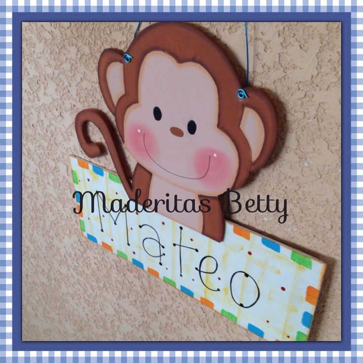 Cute monkey country madera painting