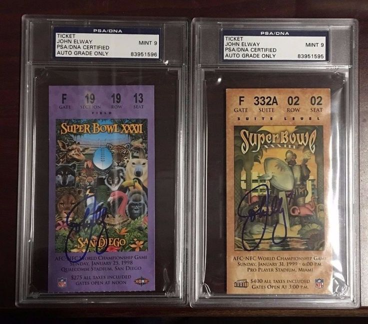 LOT (2) John Elway Signed 1998-99 Super Bowl XXXII & XXXIII Original Tickets PSA
