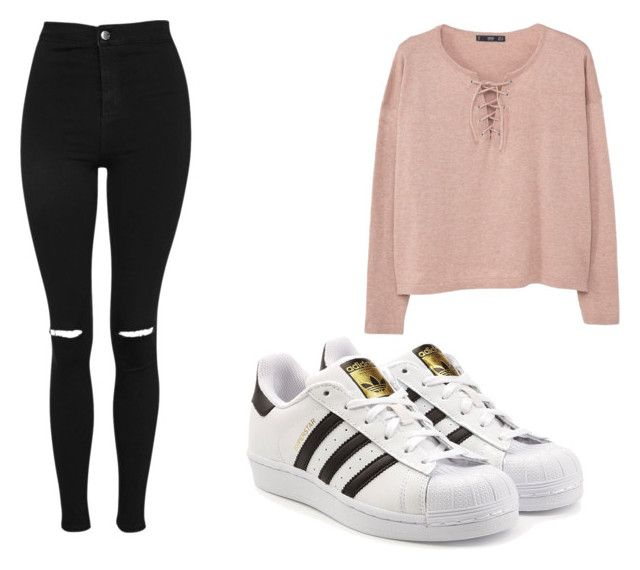 """""""casual"""" by halimabus on Polyvore featuring Topshop, MANGO and adidas Originals"""