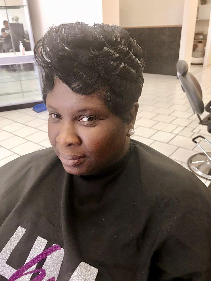 Short cut with flips/pin curls