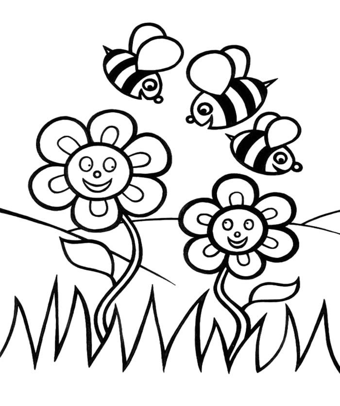 Spring Flower And Bees Coloring Pages For Kids Spring