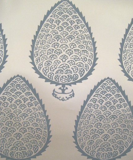 leaf wallpaper in blue from katie ridder this is the wallpaper for which I have been searching!