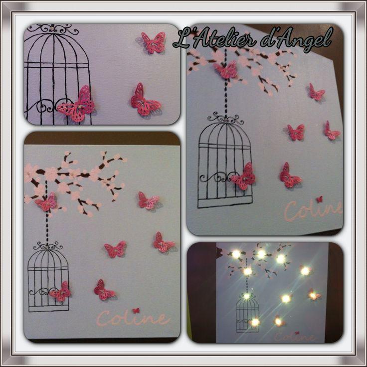 Toile Lumineuse Cage à oiseaux et papillon