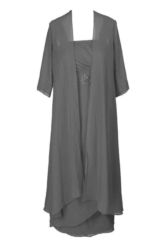Ellames Plus Size Tea Length Mother Of The Bride Dresses With Jacket Grey US 22Plus