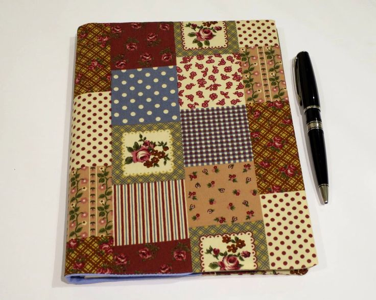 Fabric Book Cover, Suits A5 Notebook, Bonus Notebook Included, Quilted Appearance Print Cotton Fabric, Gift for Quilter, Gift for Sewer by JadoreBooks on Etsy https://www.etsy.com/listing/262317332/fabric-book-cover-suits-a5-notebook