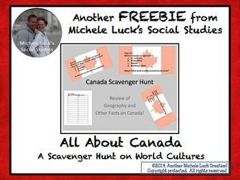 This is a scavenger hunt to help students investigate the human geography of Canada.  Teacher directions are provided, offering a number of options for classroom implementation.  %0A%0AIncludes 24 student clue cards with multiple choice or open-ended questions for investigation and a student graphic organizer for note-taking during activity.  %0A%0AAlso includes Answer Cards that can be used for students to gather the information.  Wrap-up questions are also included at the end.  Students…