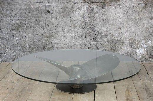 """Промышленный антиквариат, старинные предметы интерьера в стиле индастриал. Кофейный стол """"Пропеллер"""". Сталь, стекло."""
