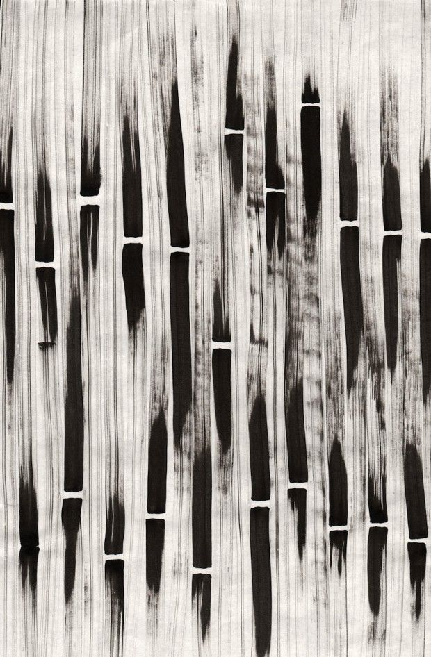 hand-painted black and white print. Bamboo Stripe 3, Liza Quinones, fashion + textiles.