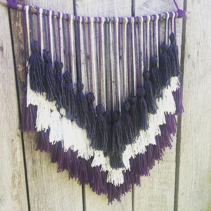 Add texture and dimension to any setting with this silk blend tassel yarn wall hang...a rich purple to offset creamy & slate neutrals ✌️ #westwardnotions #wallhanging #yarn #yarnwallhanging #homedecor #homemade #homemadewithlove #maker #makersgonnamake #inspiration #tassel