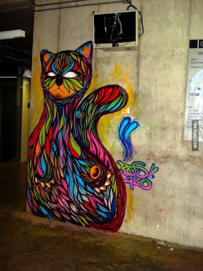 Colorful cat in Santiago, Chile.