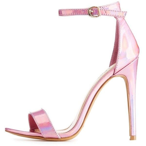Charlotte Russe Holographic Two-Piece Sandals (385 MXN) ❤ liked on Polyvore featuring shoes, sandals, pink, summer shoes, pink heeled sandals, strap sandals, pink sandals and holographic sandals