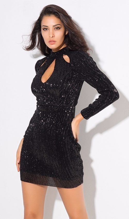 652faea0f540 Black Sequin Mini Dress | Something She Likes Styles and Trends ...