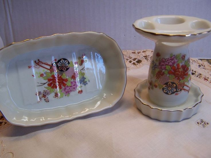 Vintage Davar Japan Polychrome Asian Soap Dish & Toothbrush Holder Matching Set #Davar