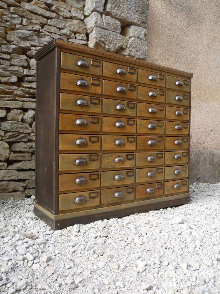 meuble metier quincailler 32 tiroirs sapin acier 1950 bureau bricolage pinterest m tier. Black Bedroom Furniture Sets. Home Design Ideas