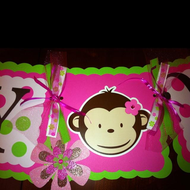Pink mod monkey birthday banner
