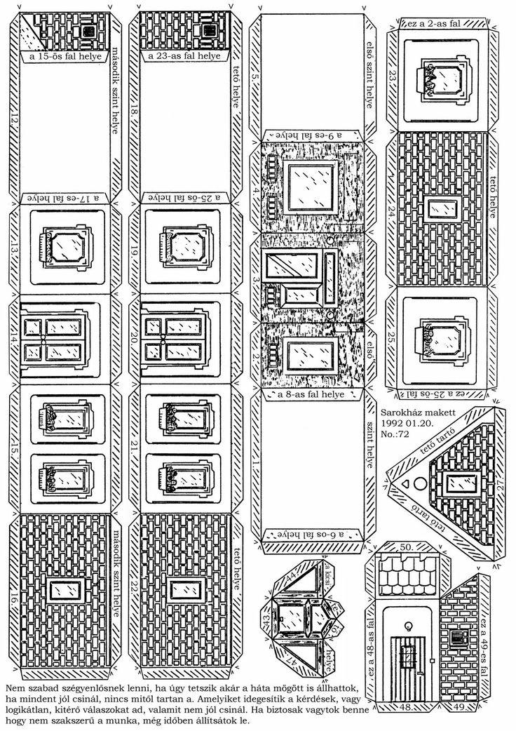 Somodi Zoltán papírmakett: Emeletes sarokház
